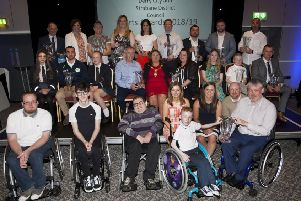 DCSDC SPORTS AWARDS 2018-19. . . . .Prizewinners, the Mayor, Councillor Michaela Boyle, guest speakers Shirley McCay and Stuart Thompson and MC Denise Watson pictured at the Derry City and Strabane District Coundil Sports Awards 2018/19 at the FirTrees Hotel, Strabane on Thursday night. (Photos: Jim McCafferty Photography)