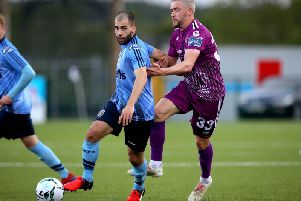 Derry City target, Conor Davis in action for UCD against Dundalk's Dean Jarvis.