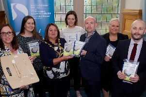 Mayor of Derry City and Strabane District, Councillor Michaela Boyle, pictured with Eamonn Toner, Environmental Health Team Leader, Derry City & Strabane District Council at the launch of Council's Blind Cord Safety Campaign. Included from left, are Olivia Lagan, Health and Community Wellbeing Team, Colleen Mulrine, Environmental Health Officer, Ailish Daly, Environmental Health Officer, Michelle Duddy, Registrar, and Emlyn Lynchehaun, Environmental Health Officer. (Photo - Tom Heaney, nwpresspics)