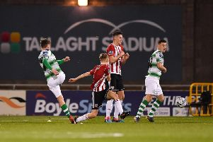 Dylan Watts puts Rovers ahead during the Hoops 2-0 win against Derry City on the Candy Stripes last visit to Tallaght.