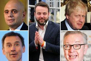 SDLP Leader Colum Eastwood (centre) has criticised the border proposals tabled by Tory leadership hopefuls, who include, clockwise from top left: Sajid Javid, Boris Johnson, Michael Gove and Jeremy Hunt.