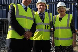 Richard Pengelly, Permanent Secretary, DHSSPSNI (left) on a recent visit to Altnagelvin. Also pictured are Liam Clarke, Contracts Manager, McLaughlin and Harvey and Elaine Way, CBE, Western Trust Chief Executive.