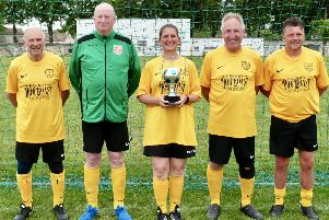 The triumphant Old Bexhillians team of, from left, John Martin, Mick Southon, Margaret Blurton, Peter Lipka and Richard Lang. Pictures courtesy Philip Blurton