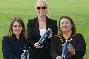 Mayor of Derry City and Strabane District Council, Councillor Michaela Boyle launching Council's backing of NI Water's Refillution campaign with Recycling Officer at DCSDC Julie Hannaway and Emma Smyth, Customer Field Manager at NI Water. (Photo - Tom Heaney, nwpresspics)