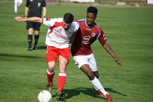 Nathan Ferguson in action for Hastings United in 2014. Picture by Terry S Blackman