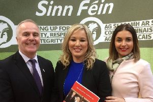 Foyle MP Elisha McCallion pictured previously with Sinn F�in deputy leader Michelle O'Neill and Foyle MLA Raymond McCartney.