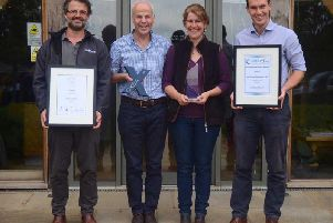 Oxfordshire Large Business of the Year 2019 and Cherwell Established Business of the Year 2019. Left to right: Merlin Brooke-Little (director of plants), Niel Nicholson (financial director), Liz Nicholson (managing director) and Sam Gibson (director of operations)