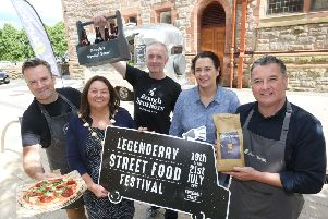 Mayor Michaela Boyle along with Catherine Goligher, Food officer with Derry City and Strabane District Council and Darren Bradley, Nonna's; Andy Rough,  Rough Brothers Beer and Gareth O'Connor, Silverbean. (Photo Lorcan Doherty)