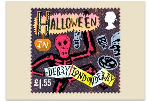 The stamp celebrating Derry's Halloween carnival.
