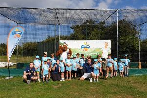 Rocky Bear visits Aldwick's Allstars cricketers