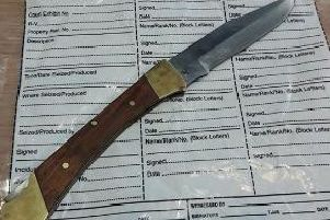 The knife which was seized this afternoon.