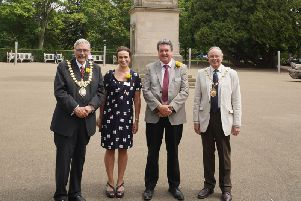 Left to right: Cllr Bill Gifford (Mayor of Leamington Spa), Emma Sibbing, Joe Heydon, Cllr George Illingworth (Chair of Warwick District Council)
