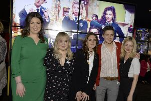 Derry Girls, writer Lisa McGee, on the left, and actors Nicola Coughlan, Louisa Harland, Dylan Llewellyn and Saoirse Jackson pictured at the Derry Girls premier held in The Omniplex Cinema, Strand Road earlier this year. DER0819GS-001
