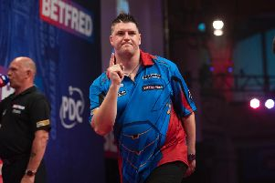 Daryl Gurney celebrates defeating Keegan Brown, to reach the Betfred World Matchplay quarter-finals.