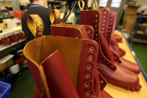 Shoe and boot production at Dr. Martens' factory in Wollaston.