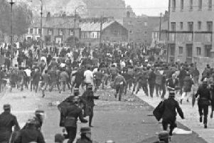 RUC men face rioters at Rossville St.