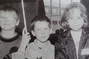 Conor, Jonathan and Deborah enjoy a game of pool at the Ballyclare Youth  Centre. 1997