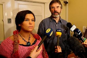 Sinn Fein president Mary Lou McDonald with her predecessor Gerry Adams in 2006. Some years before, in 2000, she was Irish National Congress chair, and was opposed to an Orange parade in Dublin. Photo: Julien Behal/PA