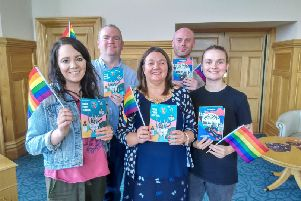 Left to right... Dee Abbott, Martin McConnellogue, Philip Baxendale and Eimear Willis of Foyle Pride pictured with Mayor Michaela Boyle.