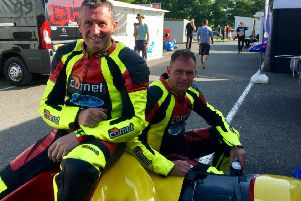 Gary Horspole (left) and Jimmy Connell put on a show at the Lincolnshire circuit EMN-190822-133131002