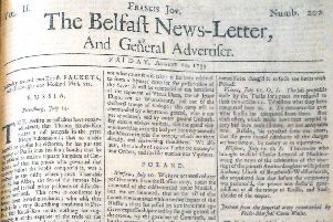 The front page of the Belfast News Letter of August 10 1739, which is August 21 in the modern calendar