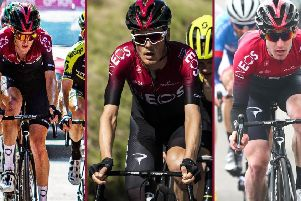 Team INEOS riders Pavel Sivakov, Dylan van Baarle and Eddie Dunbar.
