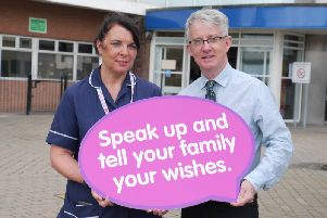 Highlighting the need for more people to sign up to the organ donor register and telling your family your wishes is: Maria Coyle; Specialist Nurse in Organ Donation and Dr Declan Grace; Lead Clinician for Organ Donation in the Western Trust.