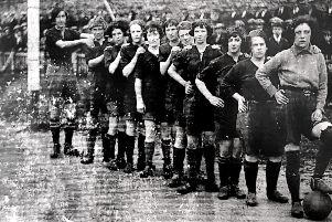 May 1927... This old photo shows the Irish Ladies' team which lined-up against Rutherglen Ladies FC in Derry's Waterside in May 1927. 'Big Molly' Seaton isn't difficult to spot. She's pictured far left.