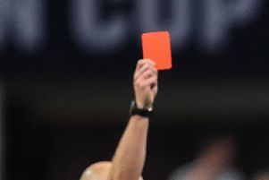 A red card was shown in bizarre circumstances in the game between Sesley and Horley Town