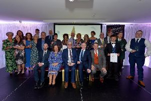 Award winners from last night's Derry Journal People of the Year Awards held in the Waterfoot Hotel. Included in the photograph, seated are, Brendan McDaid, Editor, Derry Journal, Mayor of Derry City and Strabane Colr Michaela Boyle, Richard Moore, Lifetime Achievement Award Winner. Paul McLean, Managing Director, BetMcLean and Martin Mullan. DER3619GS ' 039