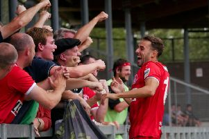 Hemel Town's Sam Ashford netted twice in the last ten minutes to give the Tudors a vital 2-1 victory over Havant & Waterlooville on Saturday. (File picture by Ben Fullylove).