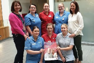 Western Trust Staff 'Surrounding you with Support' as part of Palliative Care Week from 8th to 14 September 2019 back row from left to right: Emma King, Macmillan Palliative Care Team;  Stephanie Hyndman, Staff Nurse; Bridget Browne, Acting District Nursing Team Leader; Rachel Dorrian, Staff Nurse and Marie Donnelly, Macmillan Palliative Care Team. Front row:  Julie McCaffrey, Staff Nurse; Martina Donaghy, District Nurse Team Leader and Kim McCullagh, Nursing Assistant.