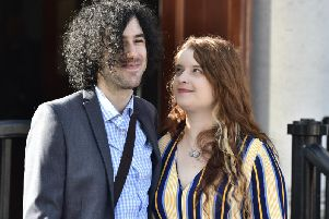 Emma DeSouza and Jake DeSouza outside the Royal Courts of Justice in Belfast. (Photo: Pacemaker)