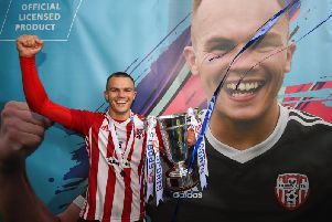 Rory Hale celebrates with the EA Sports Cup trophy, after Derry City seen off Cobh Ramblers in last year's final.