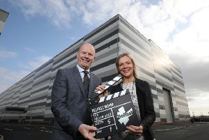 Pictured are Joe O'Neill, Chief Executive of Belfast Harbour and chair of the Belfast at MIPIM taskforce, and Suzanne Wylie, Chief Executive of Belfast City Council, at the launch of MIPIM 2020 at Belfast Harbour Studios