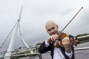 Krzysztof Rucinski, violinist with the Ulster Orchestra was in Derry to today to help promote a season of events coming to the City next month. Pictures by Darron Mark Photography | DMfotoNI