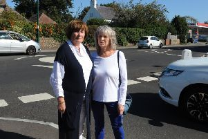 ks190515-5 Felpham Roundabout  phot kate'Councillors Elaine Stainton, left, and Gill Madeley by the new road layout in Felpham.ks190515-5 SUS-190917-184830008