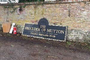 The new sign for the Shoulder of Mutton pub in Little Horwood