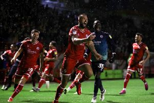 Ollie Palmer celebrates scoring Crawley Town's winning penalty during the Carabao Cup third round match against Stoke City. Picture courtesy of Getty Images