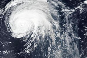 NASA-NOAA's Suomi NPP satellite passed over Hurricane Lorenzo twice in the Northeastern Atlantic Ocean to obtain a full picture, stitched together, of the large storm.