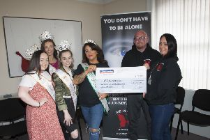 Emma Brolly, handing over a cheque for �11,623.01 to Pauline McCloskey and John Doran, ME4Mental Support Group, Queen Street, Derry. The monies were raised though a beauty pageant held at the Waterfoot Hotel on 14th September, 2019. Included in photo are Millie Doran, Zoe Stewart and Rebecca Keys.