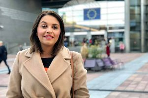 Foyle MP Elisha McCallion outside The European Parliament.