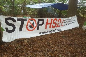Stop HS2 banner put up at the Crackley Wood protest camp