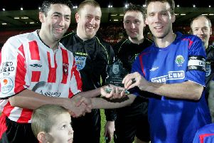 The Setanta Cup facilitiated the first competitive meeting between Derry City and Linfield in 35 years when they met at Windsor Park in February 2006. A presentation is made to ex-Derry City captain Peter Hutton, left, and Linfield captain Noel Baille to mark the occasion. The teams could meet on a regular basis should All Island league proposals come to fruition.