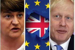 D.U.P. leader Arlene Foster and Prime Minister Boris Johnson.