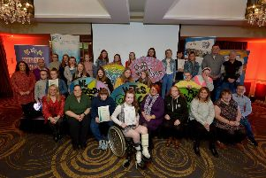 Group pictured at the Enagh Youth Forum Certificate Presentation and Celebration event held recently in the White Horse Hotel, Campsie.  Included in the picture are funding representatives Colr. Sandra Duffy, Derry and Strabane PCSP, and Amanda Doherty, National Lottery Community Fund. DER4119GS - 023
