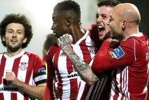 HAT-TRICK HERO . . . Junior celebrates his second goal against Finn Harps on his way to securing the golden boot.