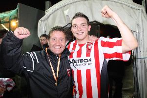 Derry City manager, John Robertson, celebrates with Kevin Deery after their League Cup Final win over Bohemians, in 2007.