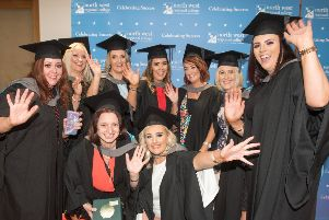 Back l-r Leona O'Donnell, Tracey Radcliffe, Olivia Buchanan, Sara Fitzpatrick, Lisa Cregan, Karen O'Kane and Charmaine Tierney. Front: Jacinta Molloy and Serena Calisti Randazo, pictured at NWRC's Higher Education Graduation Ceremony in 2018. (Pic Martin McKeown)
