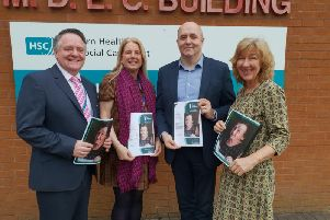 Dr Kevin Moore, Ulster University; Florence Sharkey, Lead Nurse for Research and Development, Western Trust; Brendan McGrath, Assistant Director of Nursing, Primary Care and Older Peoples Services Western Trust and Viv Coates, Research and Development Western Trust and UU.